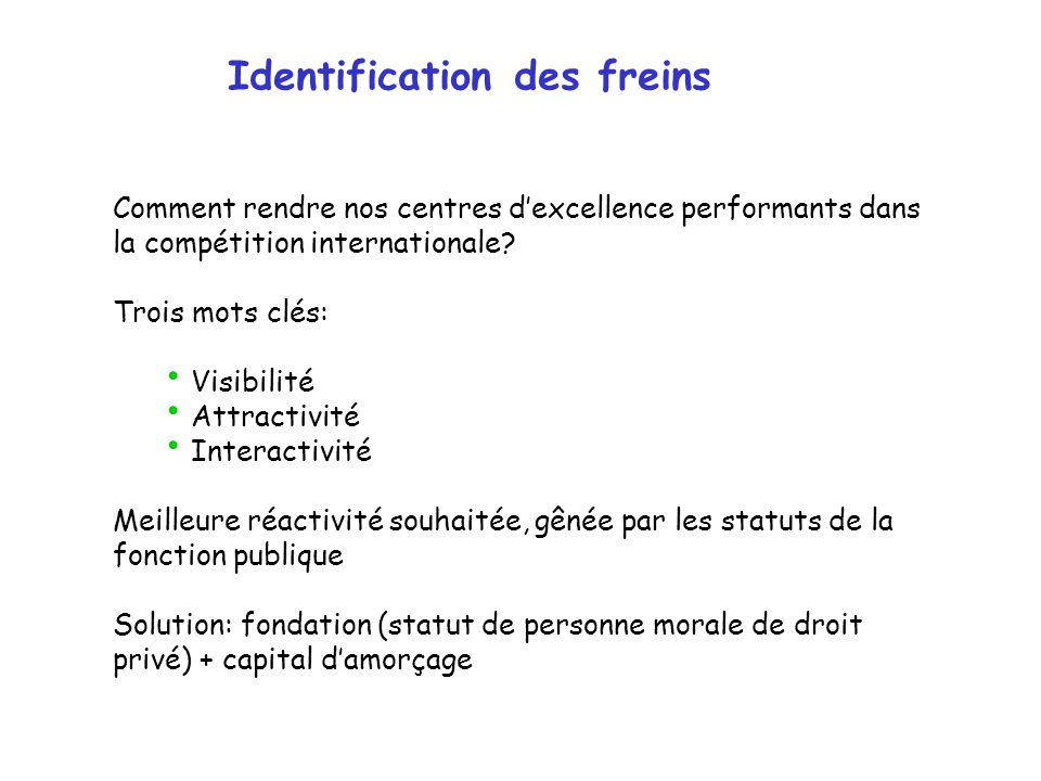 Identification des freins Comment rendre nos centres dexcellence performants dans la compétition internationale.