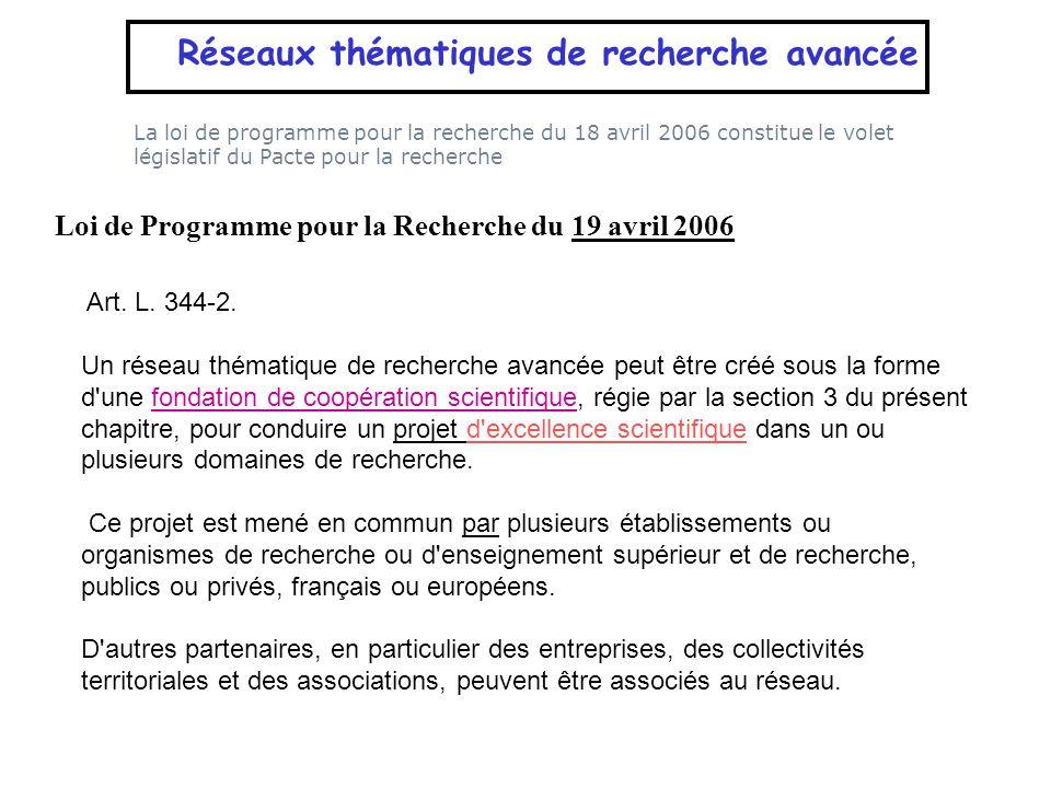 La loi de programme pour la recherche du 18 avril 2006 constitue le volet législatif du Pacte pour la recherche Réseaux thématiques de recherche avanc