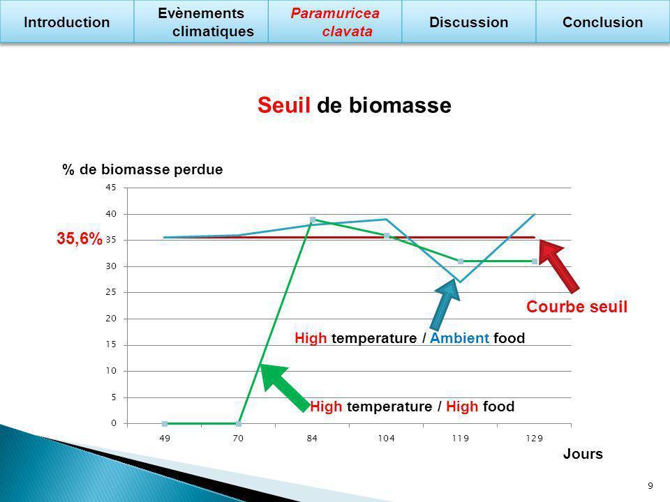 Hypothèse contrainte énergétique Balance énergétique respiration / manque de nourriture Même seuil & Corrélation biomasse perdue / mortalité partielle Ajout de nourriture = pas de perte 10