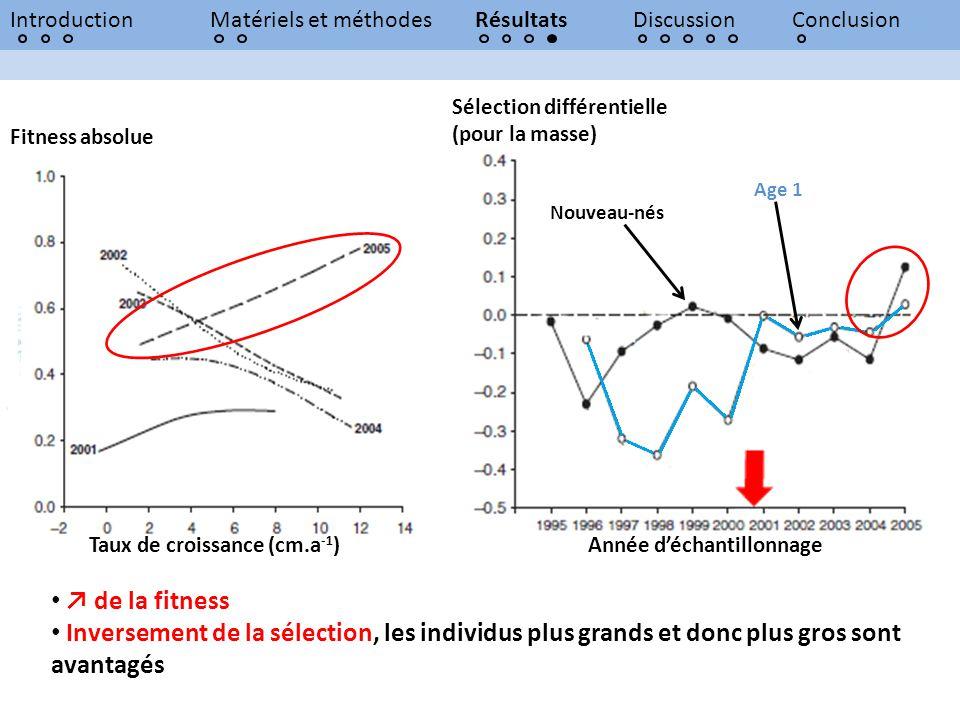 IntroductionMatériels et méthodesRésultatsDiscussionConclusion Sélection différentielle (pour la masse) Année déchantillonnage Nouveau-nés Age 1 Fitne