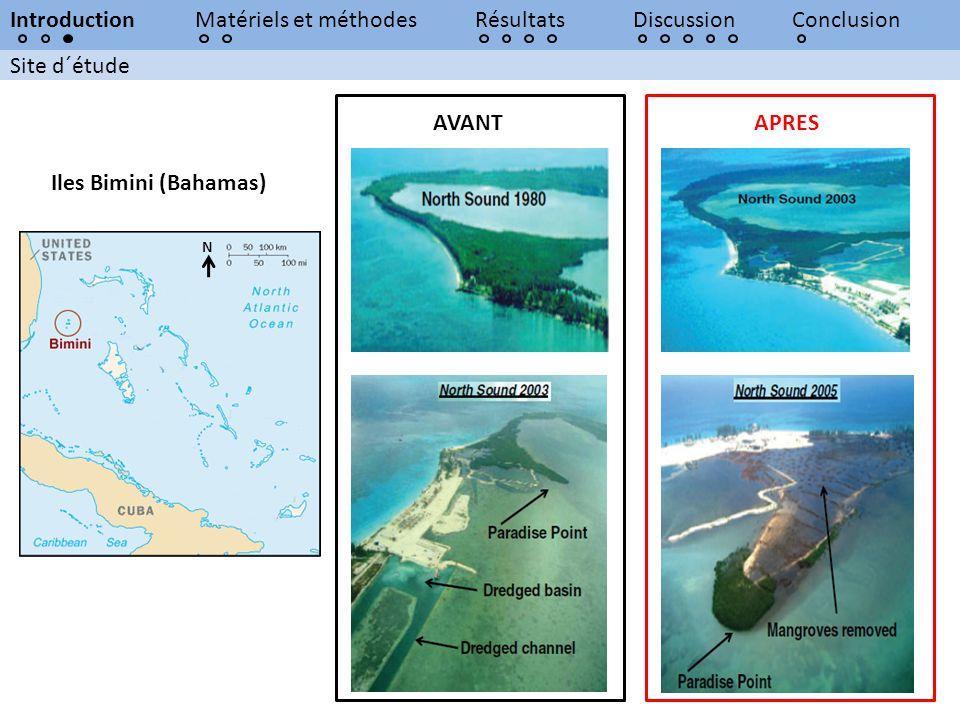 Site d´étude IntroductionMatériels et méthodesRésultatsDiscussionConclusion Iles Bimini (Bahamas) AVANTAPRES N
