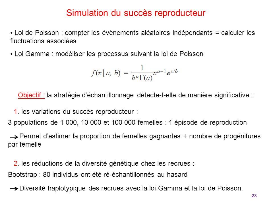 23 Loi de Poisson : compter les évènements aléatoires indépendants = calculer les fluctuations associées Loi Gamma : modéliser les processus suivant l