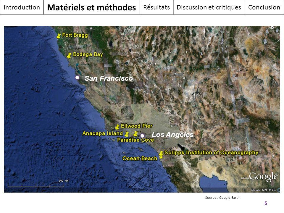 5 Los Angeles San Francisco Introduction Matériels et méthodes RésultatsDiscussion et critiquesConclusion Source : Google Earth