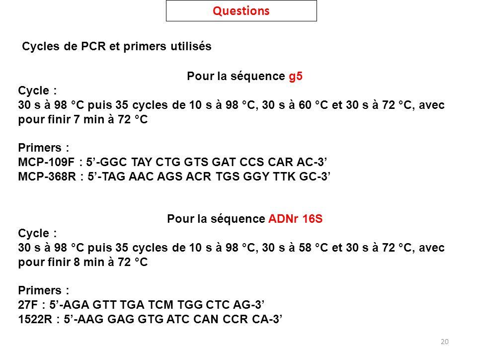 20 Cycles de PCR et primers utilisés Pour la séquence g5 Cycle : 30 s à 98 °C puis 35 cycles de 10 s à 98 °C, 30 s à 60 °C et 30 s à 72 °C, avec pour