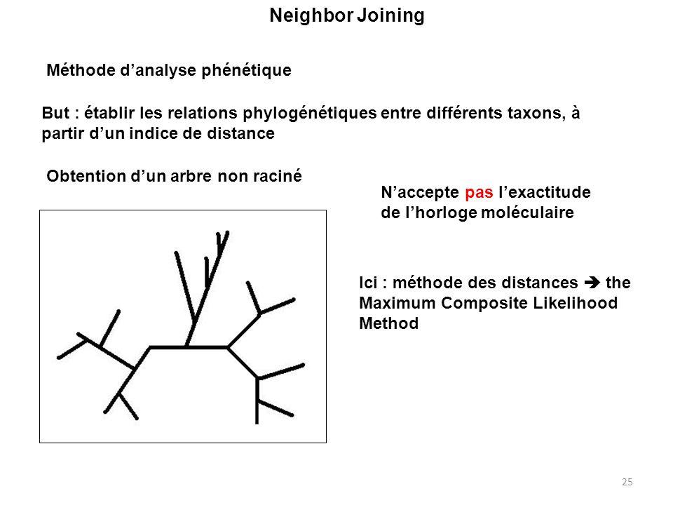 25 Neighbor Joining Naccepte pas lexactitude de lhorloge moléculaire But : établir les relations phylogénétiques entre différents taxons, à partir dun