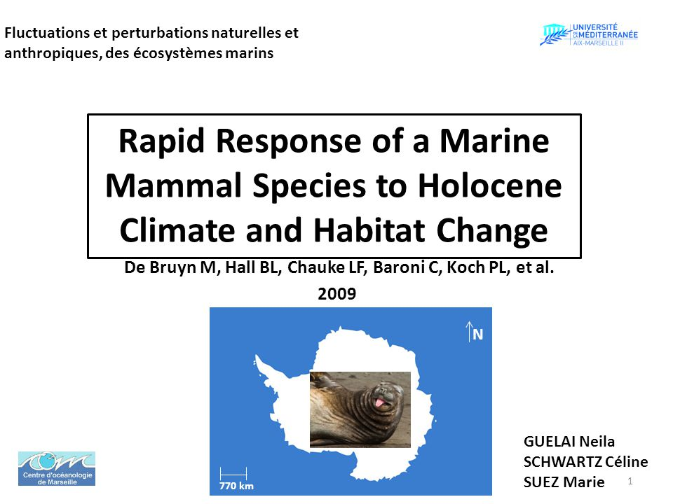 Rapid Response of a Marine Mammal Species to Holocene Climate and Habitat Change De Bruyn M, Hall BL, Chauke LF, Baroni C, Koch PL, et al. 2009 Fluctu