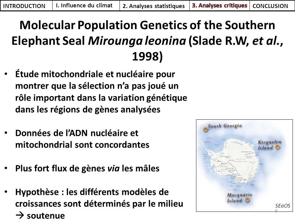 Molecular Population Genetics of the Southern Elephant Seal Mirounga leonina (Slade R.W, et al., 1998) I. Influence du climat 2. Analyses statistiques