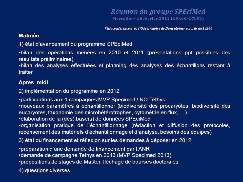 Matinée 1) état d'avancement du programme SPEciMed bilan des opérations menées en 2010 et 2011 (présentations ppt possibles des résultats préliminaire