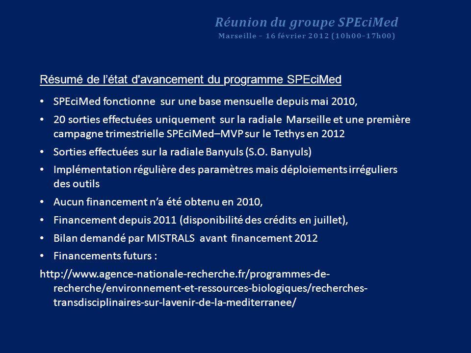 Résumé de létat d'avancement du programme SPEciMed SPEciMed fonctionne sur une base mensuelle depuis mai 2010, 20 sorties effectuées uniquement sur la