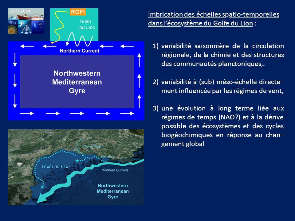 Imbrication des échelles spatio-temporelles dans lécosystème du Golfe du Lion : 1)variabilité saisonnière de la circulation régionale, de la chimie et