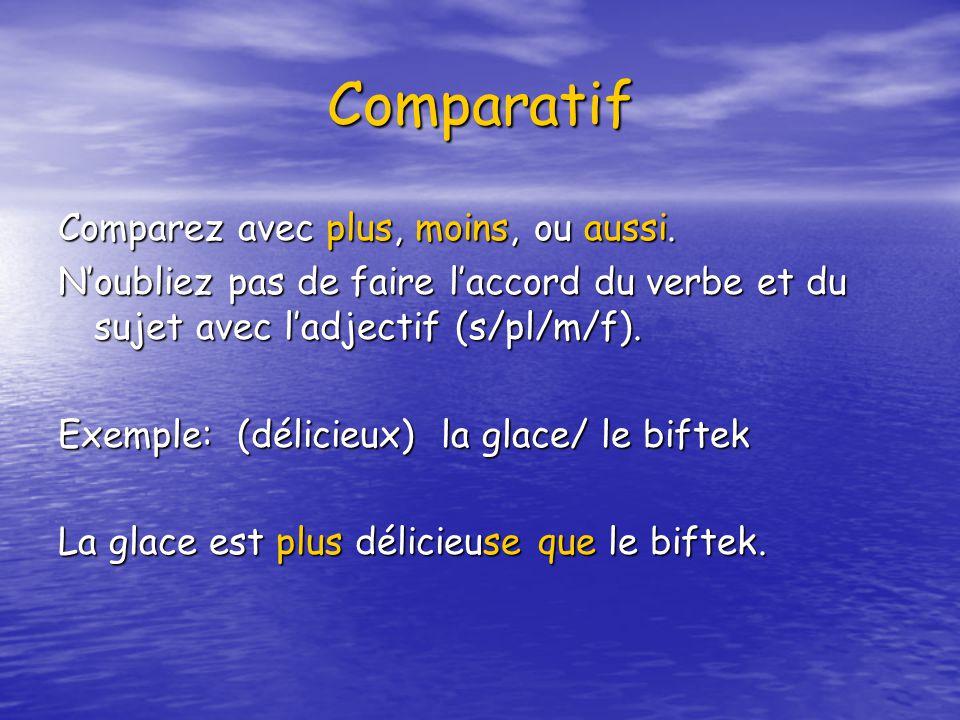 Comparatif Comparez avec plus, moins, ou aussi. Noubliez pas de faire laccord du verbe et du sujet avec ladjectif (s/pl/m/f). Exemple: (délicieux) la