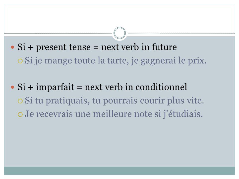 Si + present tense = next verb in future Si je mange toute la tarte, je gagnerai le prix. Si + imparfait = next verb in conditionnel Si tu pratiquais,