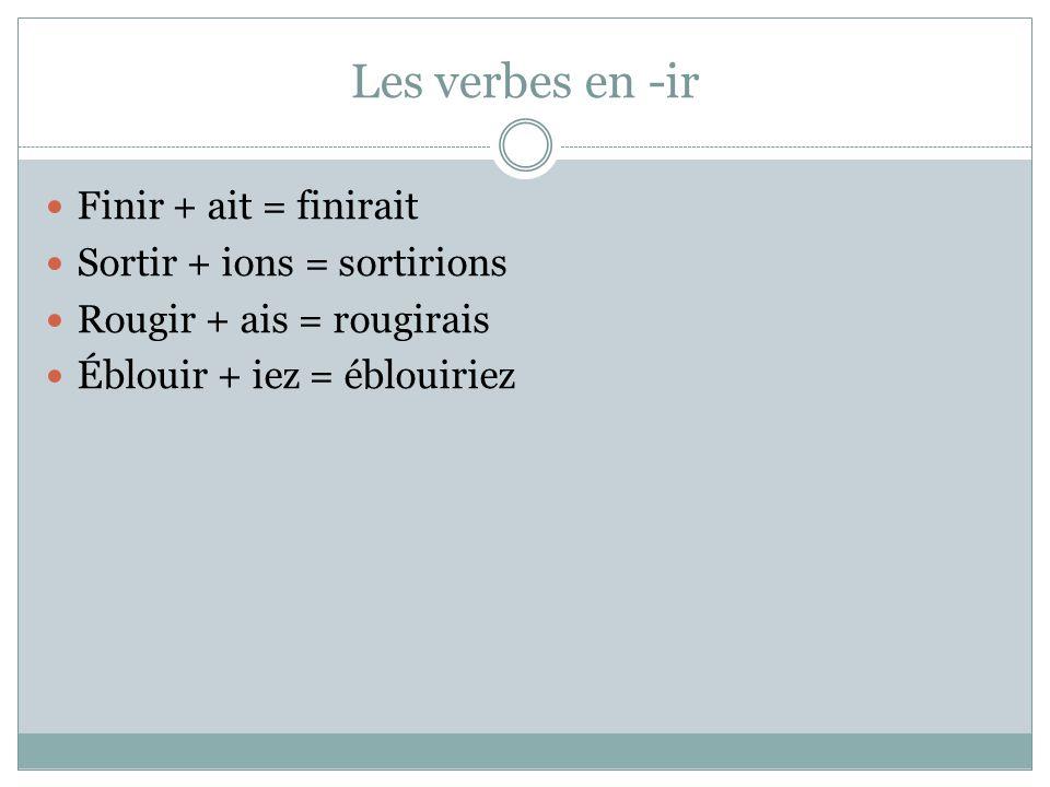 Les verbes en -ir Finir + ait = finirait Sortir + ions = sortirions Rougir + ais = rougirais Éblouir + iez = éblouiriez