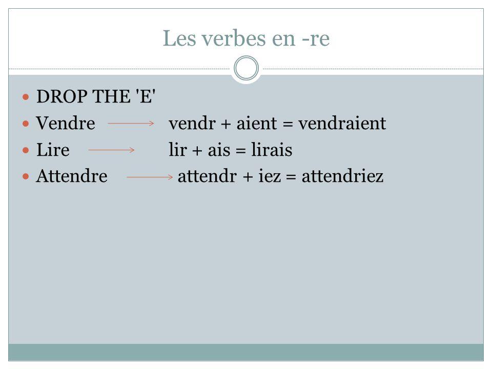 Les verbes en -re DROP THE 'E' Vendre vendr + aient = vendraient Lire lir + ais = lirais Attendre attendr + iez = attendriez