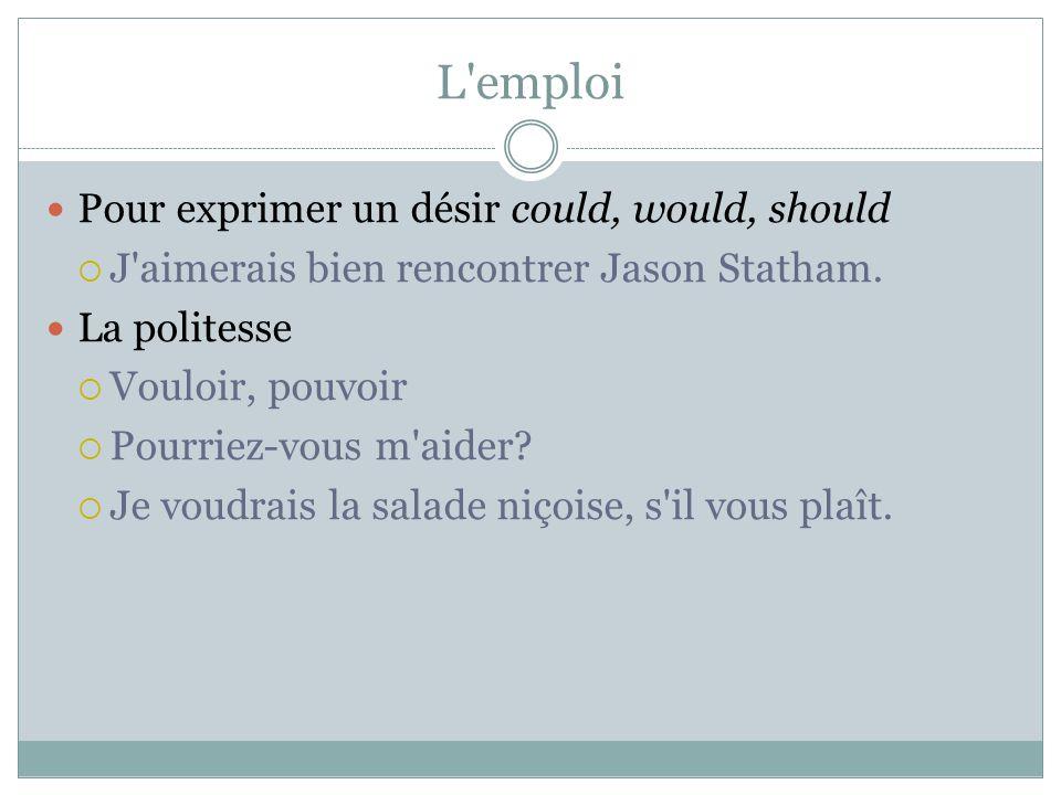 L'emploi Pour exprimer un désir could, would, should J'aimerais bien rencontrer Jason Statham. La politesse Vouloir, pouvoir Pourriez-vous m'aider? Je