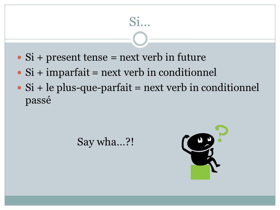Si… Si + present tense = next verb in future Si + imparfait = next verb in conditionnel Si + le plus-que-parfait = next verb in conditionnel passé Say