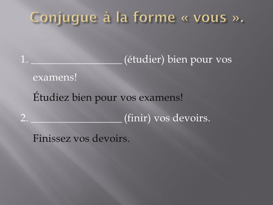 1. _________________ (étudier) bien pour vos examens! Étudiez bien pour vos examens! 2. _________________ (finir) vos devoirs. Finissez vos devoirs.
