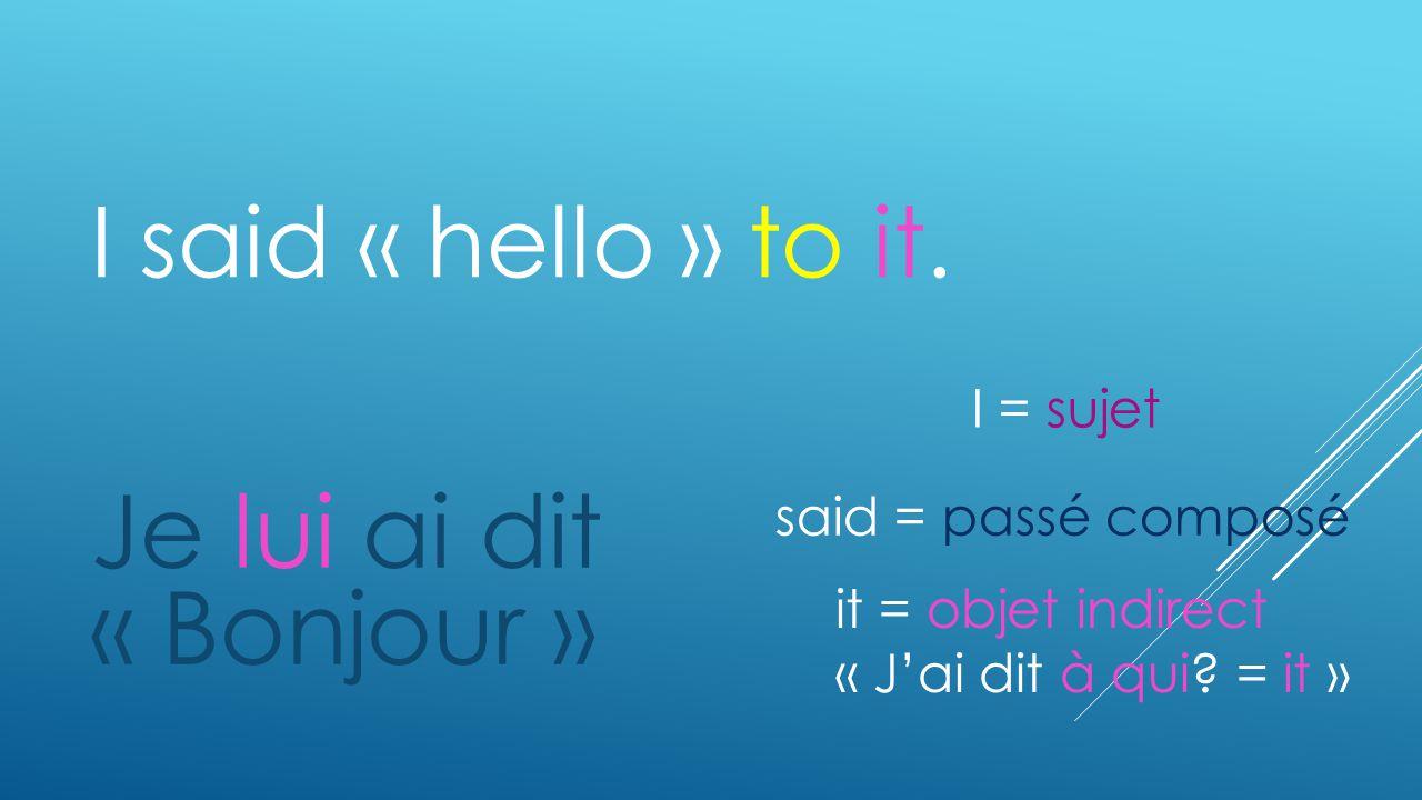 I said « hello » to it. Je lui ai dit « Bonjour » it = objet indirect « Jai dit à qui? = it » said = passé composé I = sujet