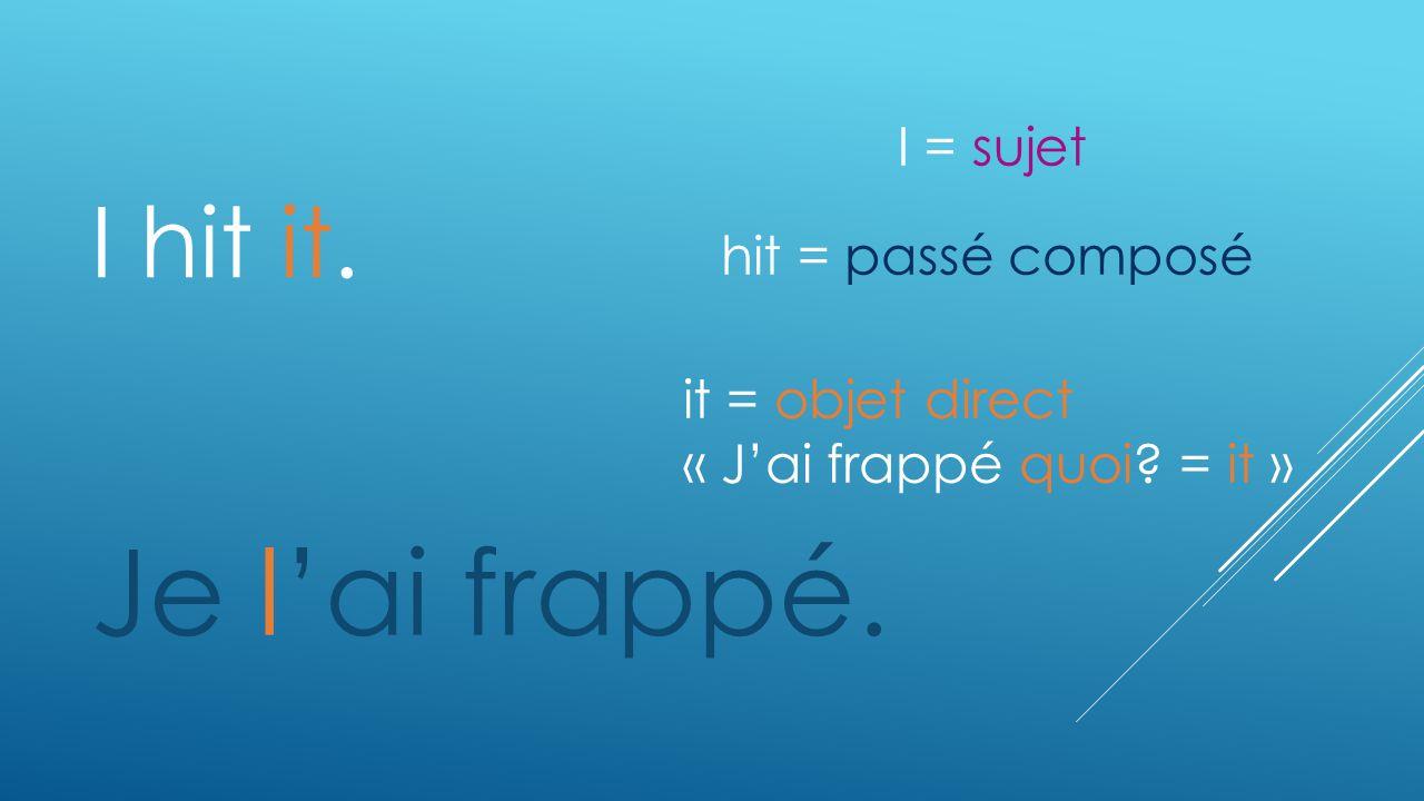 I hit it. Je lai frappé. it = objet direct « Jai frappé quoi? = it » hit = passé composé I = sujet