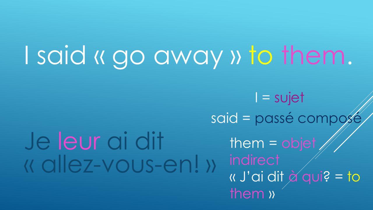 I said « go away » to them. Je leur ai dit « allez-vous-en! » them = objet indirect « Jai dit à qui? = to them » said = passé composé I = sujet