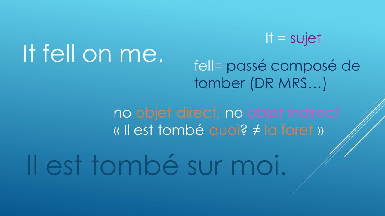 It fell on me. Il est tombé sur moi. no objet direct, no objet indirect « Il est tombé quoi? la foret » fell= passé composé de tomber (DR MRS…) It = s