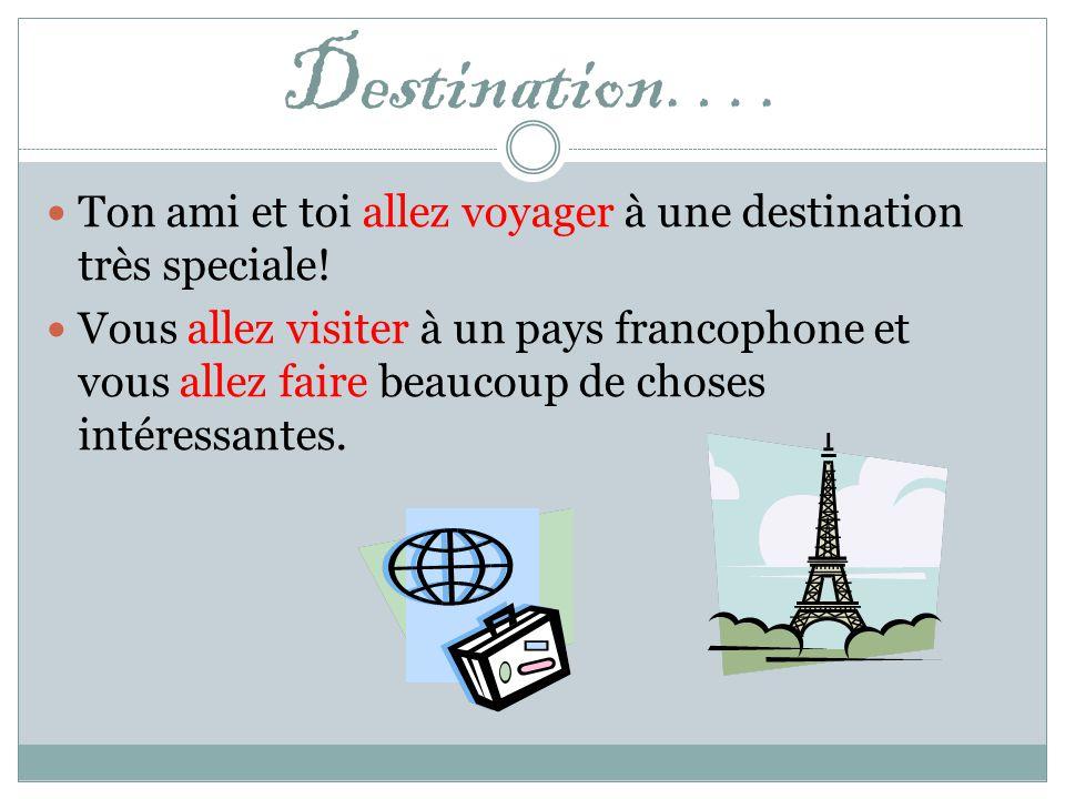 Mais avant de partir, il faut avoir 1. un ami / une amie 2. une destination, et 3. un passeport