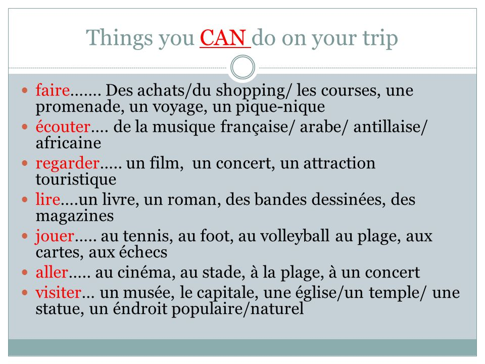 Things you CAN do on your trip faire…….