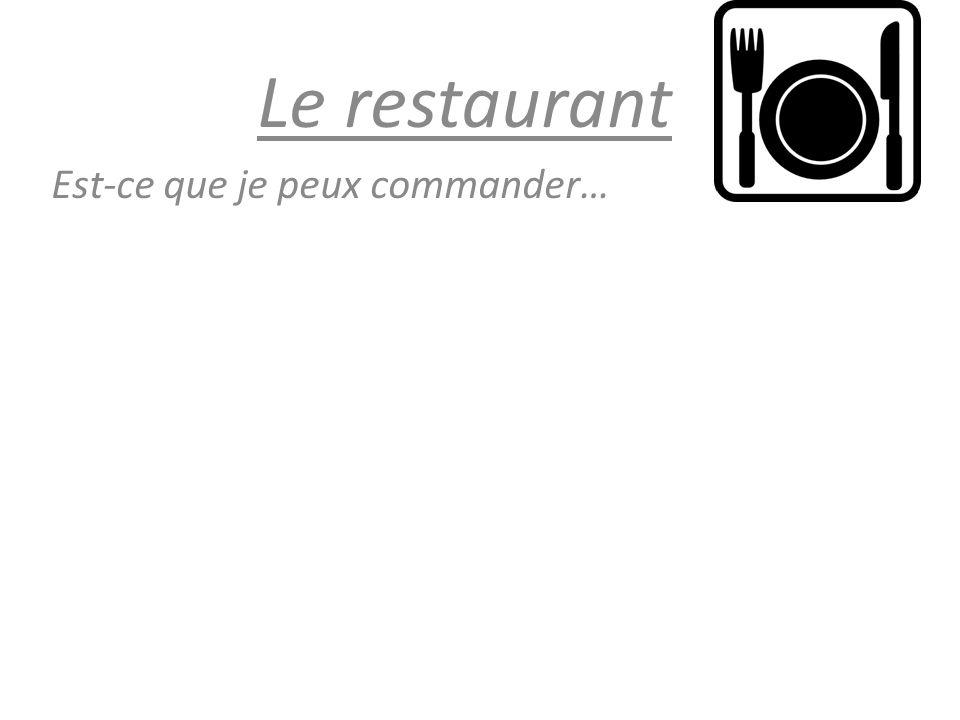 Le restaurant Est-ce que je peux commander…