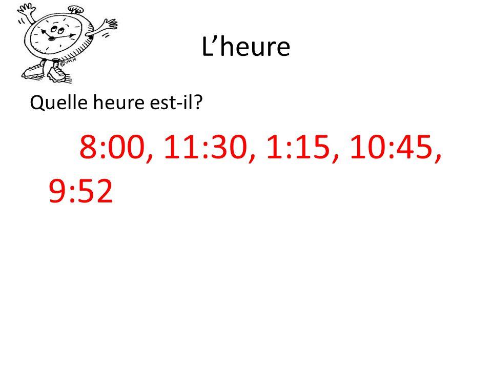 Lheure Quelle heure est-il? 8:00, 11:30, 1:15, 10:45, 9:52