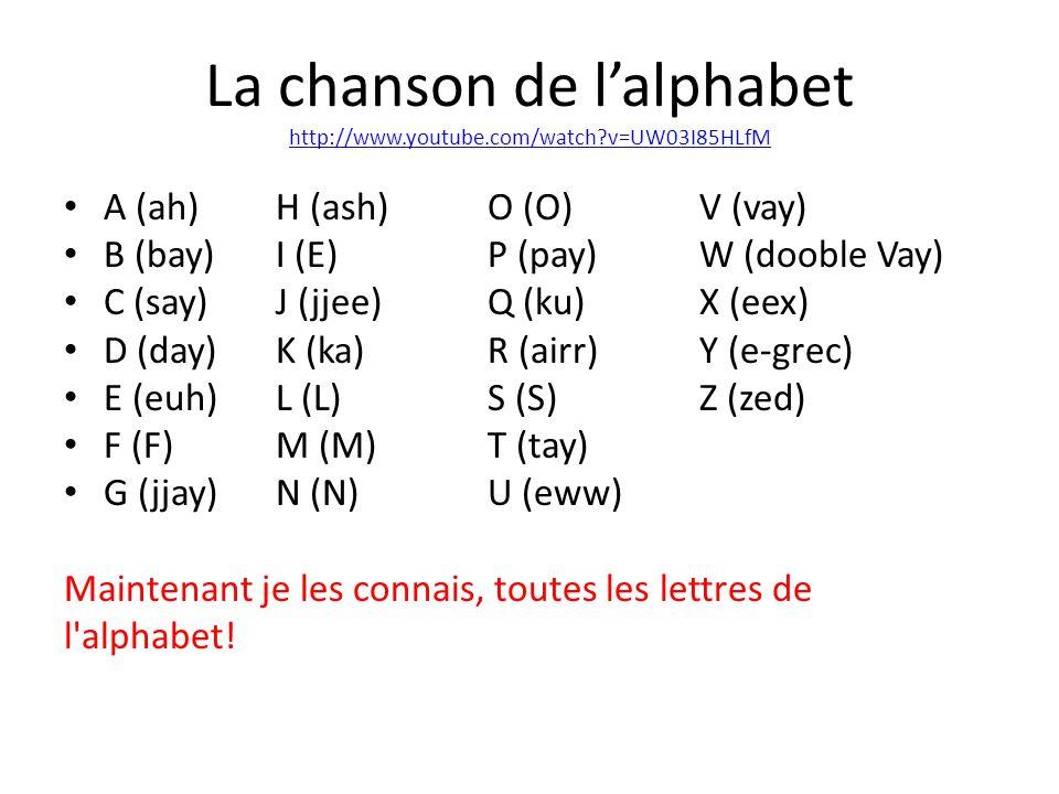 La chanson de lalphabet http://www.youtube.com/watch?v=UW03I85HLfM http://www.youtube.com/watch?v=UW03I85HLfM A (ah)H (ash)O (O)V (vay) B (bay)I (E)P