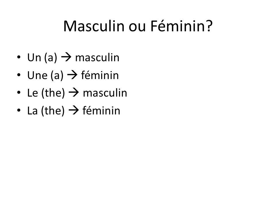 Masculin ou Féminin? Un (a) masculin Une (a) féminin Le (the) masculin La (the) féminin