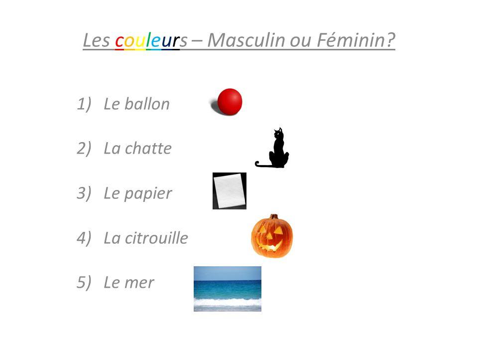 Les couleurs – Masculin ou Féminin? 1)Le ballon rouge 2)La chatte noire 3)Le papier blanc 4) La citrouille orange 5) Le merbleu