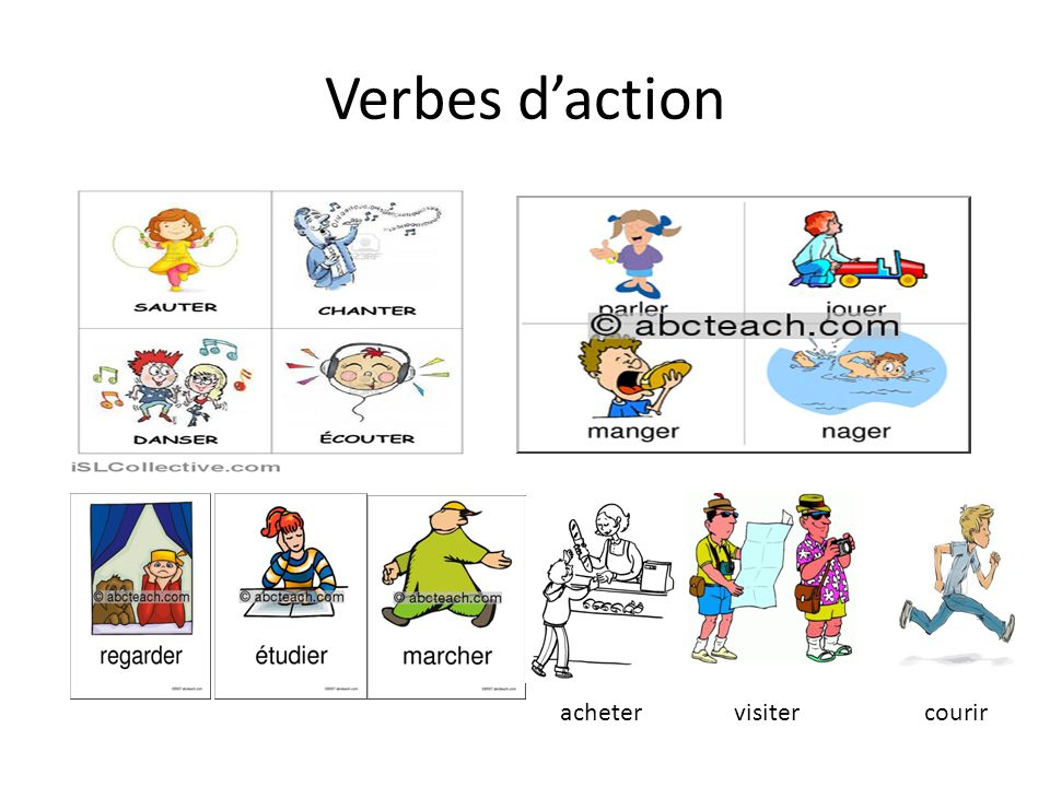 Verbes daction visiterachetercourir