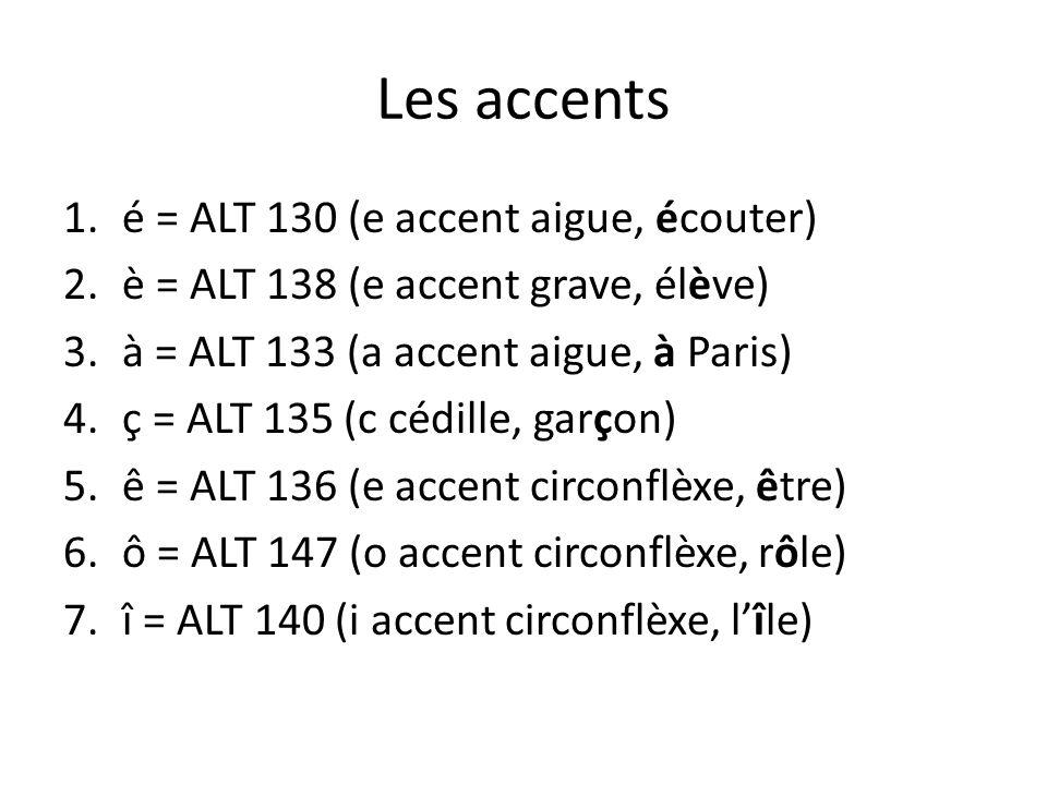 Les accents 1.é = ALT 130 (e accent aigue, écouter) 2.è = ALT 138 (e accent grave, élève) 3.à = ALT 133 (a accent aigue, à Paris) 4.ç = ALT 135 (c céd