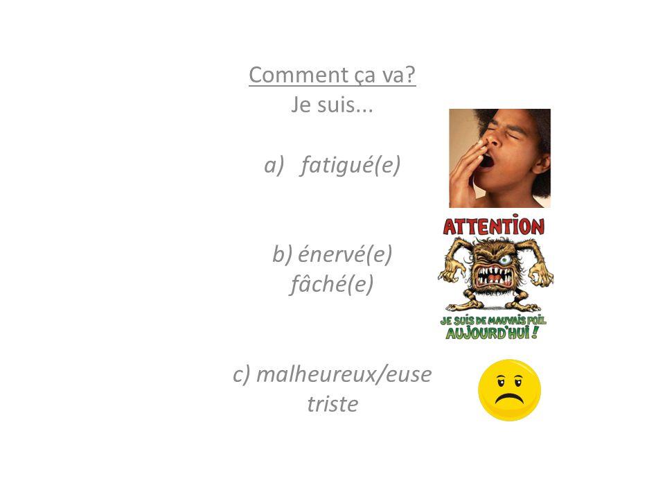 être (to be) – Présent Je suis (I am)Nous sommes (We are) Tu es (You are)Vous êtes (You are) Il/Elle est (He/She is)Ils/Elles sont (They are) Ex: Je suis malade.