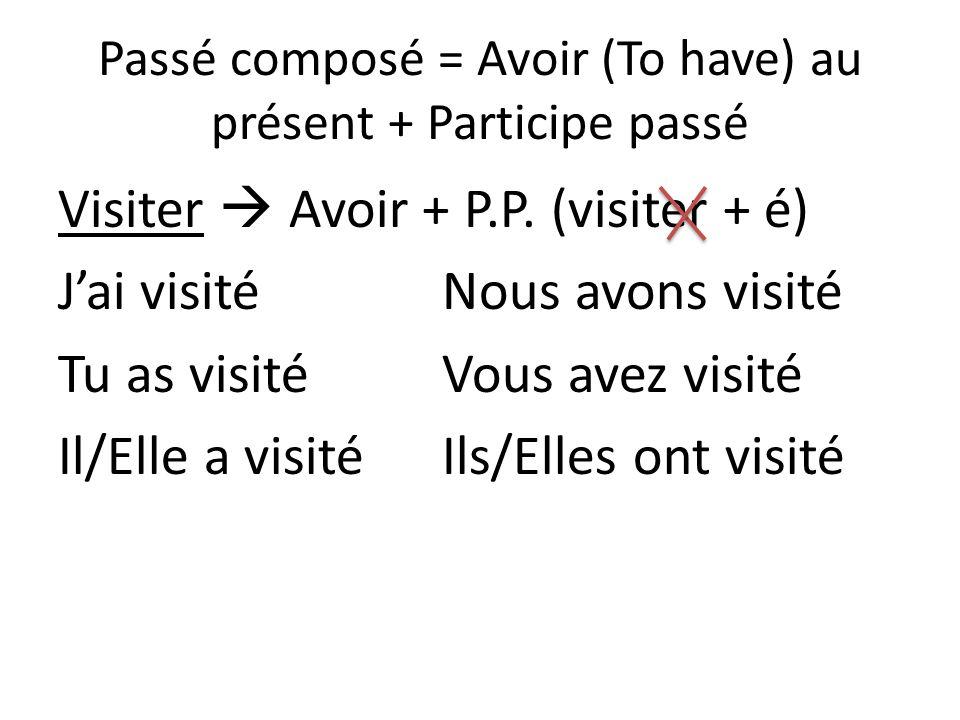 Passé composé = Avoir (To have) au présent + Participe passé Visiter Avoir + P.P. (visiter + é) Jai visitéNous avons visité Tu as visitéVous avez visi