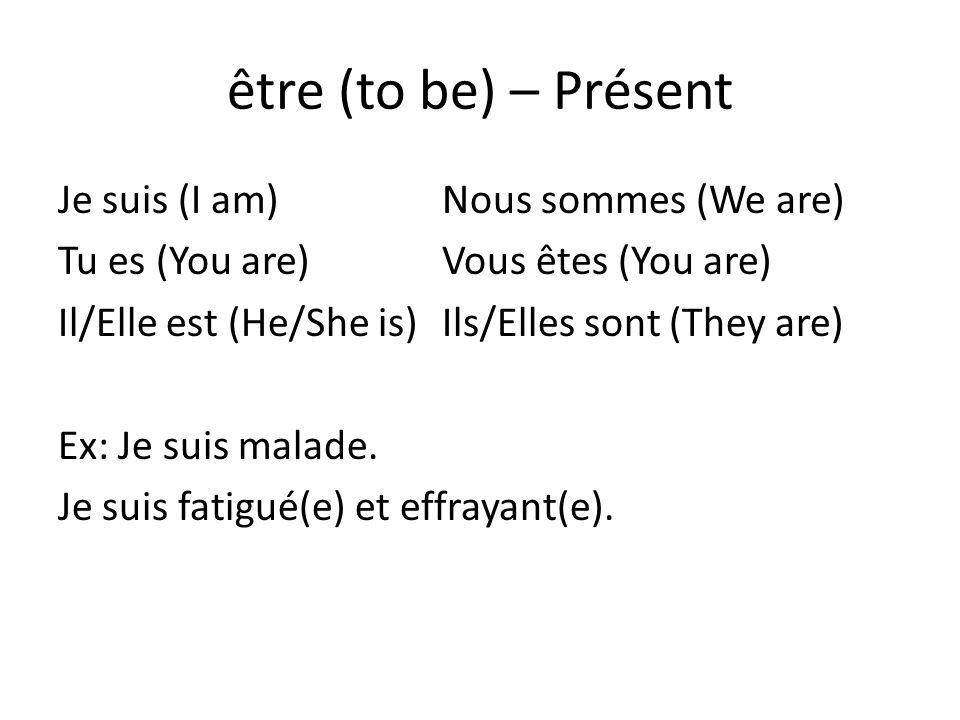 être (to be) – Présent Je suis (I am)Nous sommes (We are) Tu es (You are)Vous êtes (You are) Il/Elle est (He/She is)Ils/Elles sont (They are) Ex: Je s