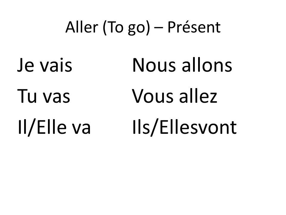 Aller (To go) – Présent Je vaisNous allons Tu vasVous allez Il/Elle vaIls/Ellesvont
