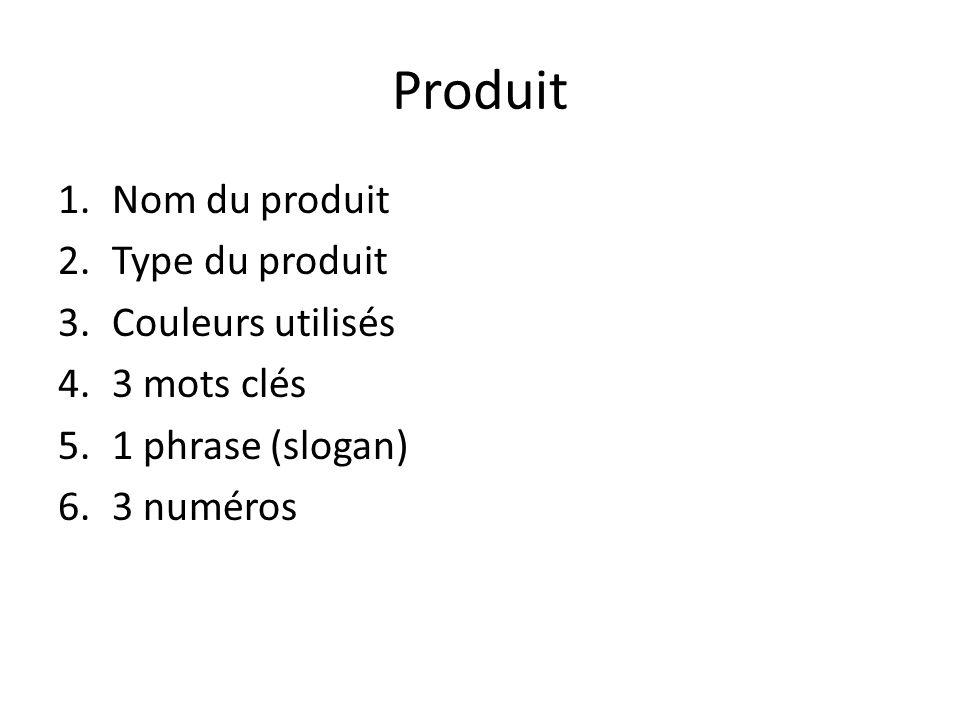 Produit 1.Nom du produit 2.Type du produit 3.Couleurs utilisés 4.3 mots clés 5.1 phrase (slogan) 6.3 numéros