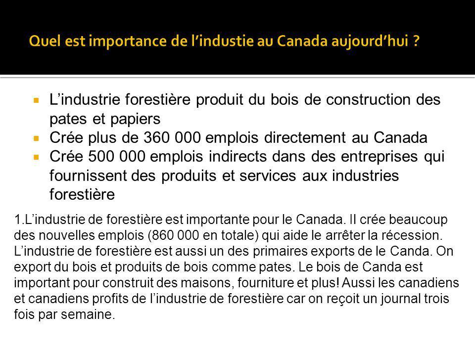Lindustrie forestière produit du bois de construction des pates et papiers Crée plus de 360 000 emplois directement au Canada Crée 500 000 emplois ind