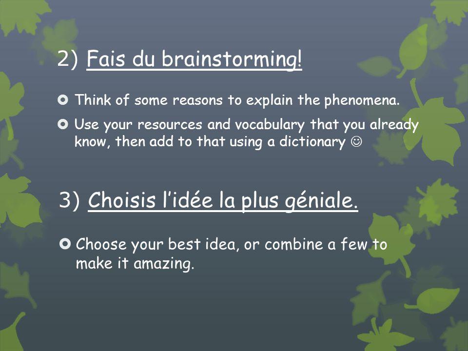 2) Fais du brainstorming.Think of some reasons to explain the phenomena.