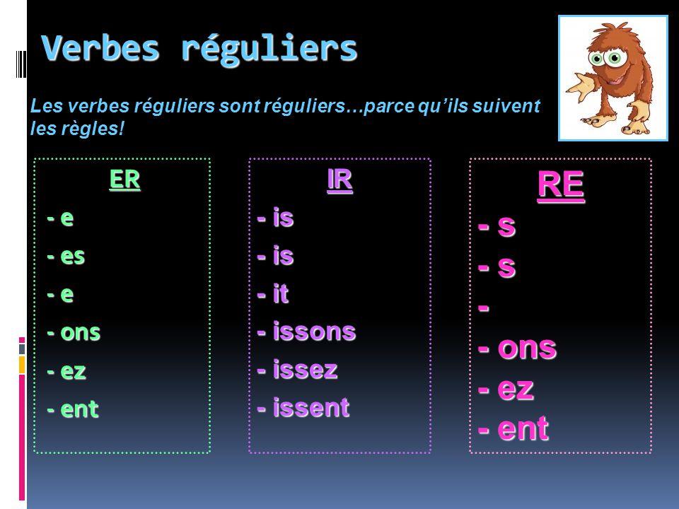 Verbes réguliers ER - e - es - e - ons - ez - ent IR - is - it - issons - issez - issent RE - s - - ons - ez - ent Les verbes réguliers sont réguliers
