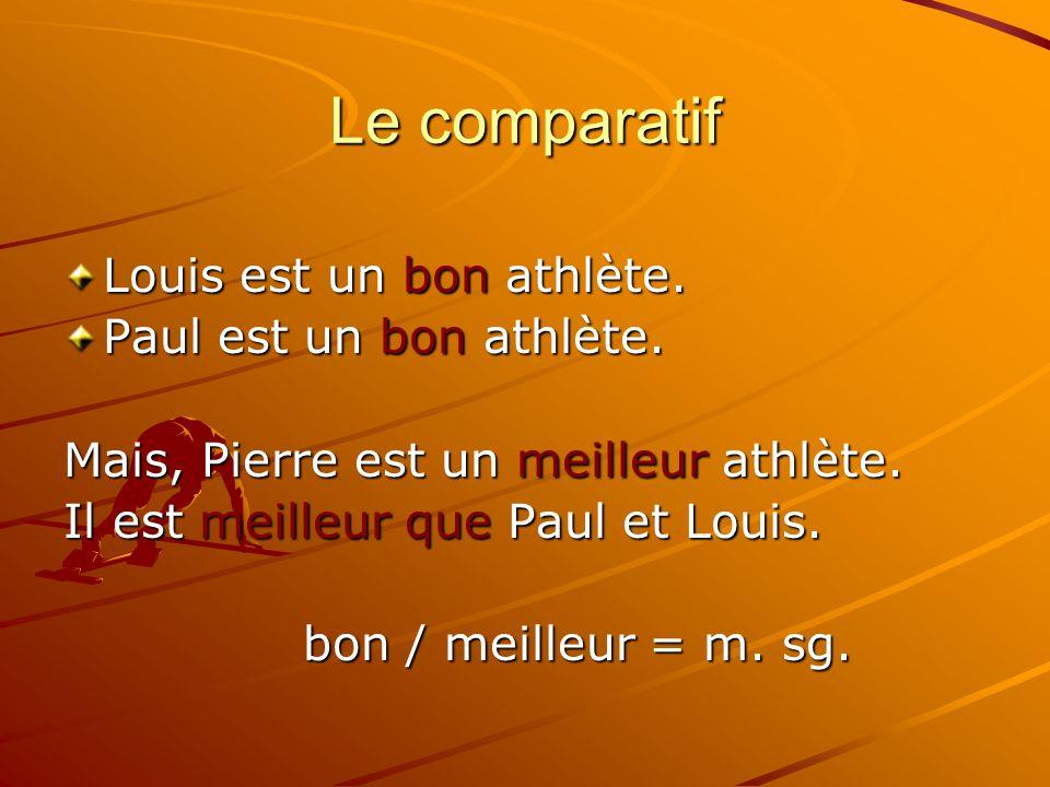 Le comparatif Louis est un bon athlète. Paul est un bon athlète. Mais, Pierre est un meilleur athlète. Il est meilleur que Paul et Louis. bon / meille