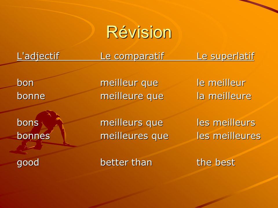 Révision L'adjectifLe comparatif Le superlatif bonmeilleur que le meilleur bonnemeilleure que la meilleure bonsmeilleurs que les meilleurs bonnesmeill