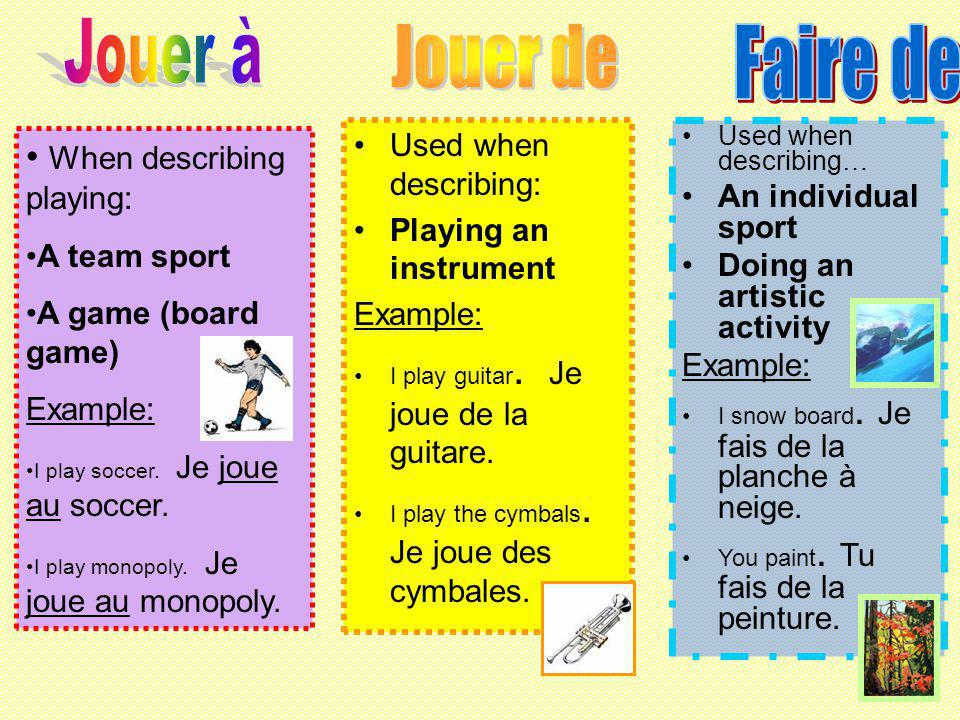 When describing playing: A team sport A game (board game) Example: I play soccer.
