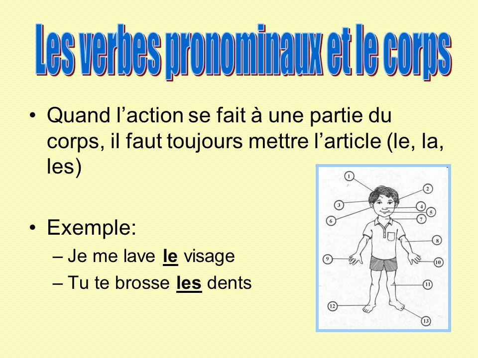 Quand laction se fait à une partie du corps, il faut toujours mettre larticle (le, la, les) Exemple: –Je me lave le visage –Tu te brosse les dents
