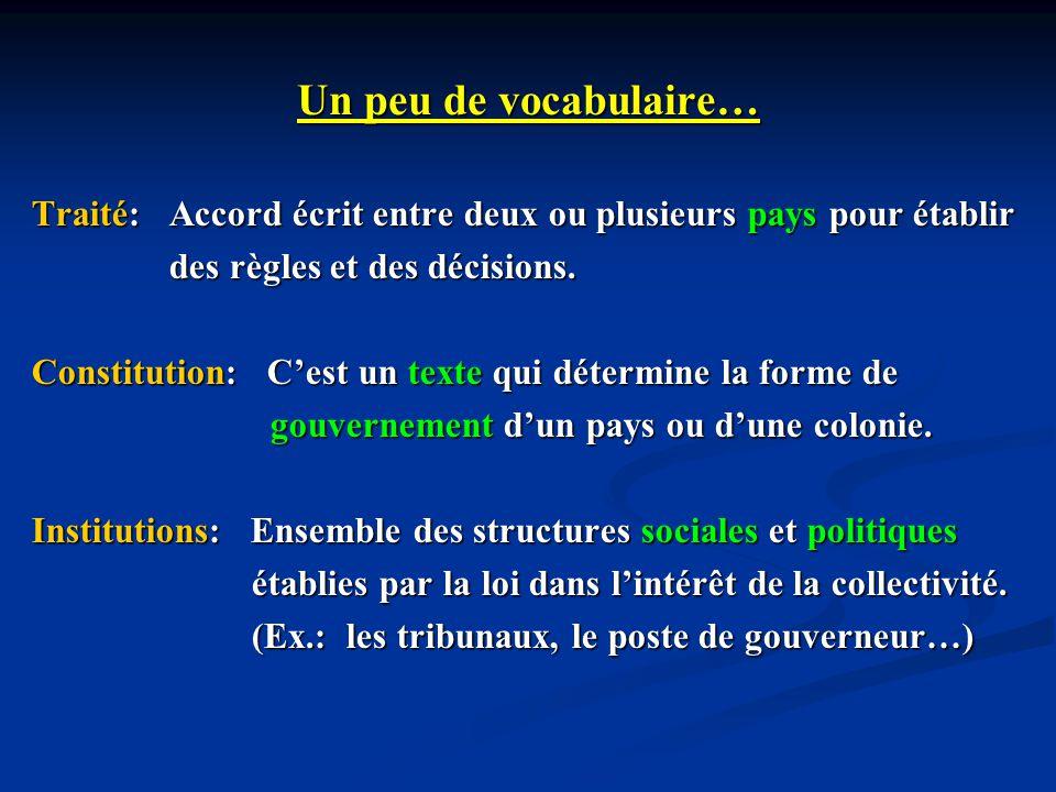 Un peu de vocabulaire… Traité: Accord écrit entre deux ou plusieurs pays pour établir des règles et des décisions. des règles et des décisions. Consti