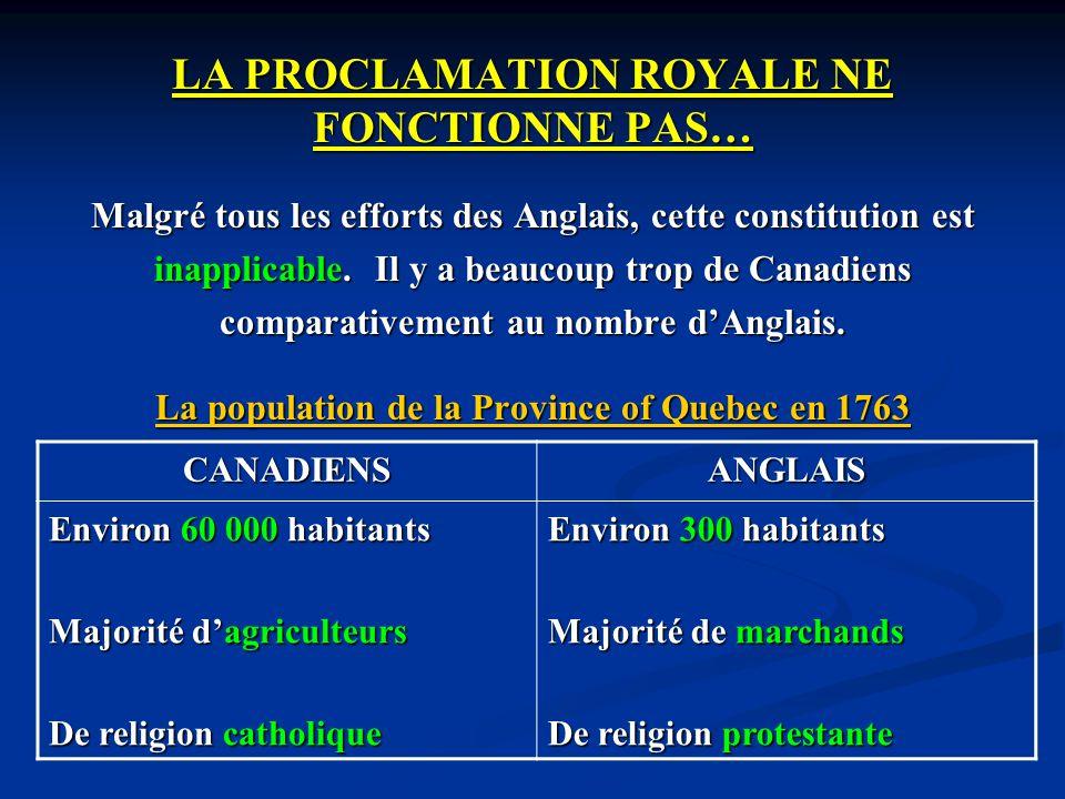 LA PROCLAMATION ROYALE NE FONCTIONNE PAS… Malgré tous les efforts des Anglais, cette constitution est inapplicable. Il y a beaucoup trop de Canadiens