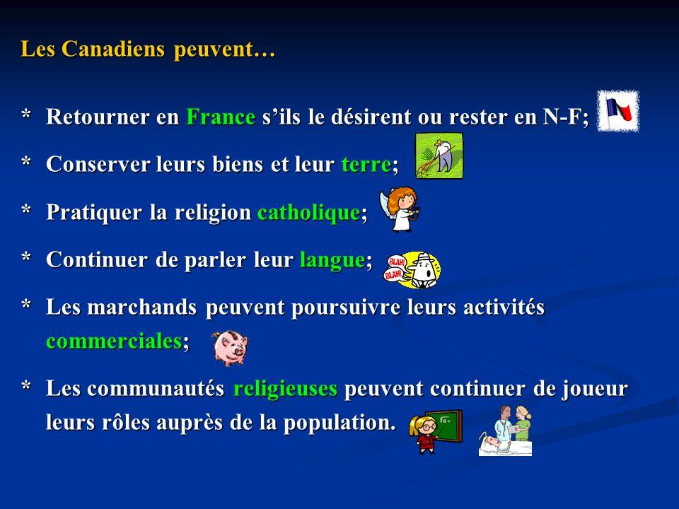 Les Canadiens peuvent… *Retourner en France sils le désirent ou rester en N-F; *Conserver leurs biens et leur terre; *Pratiquer la religion catholique