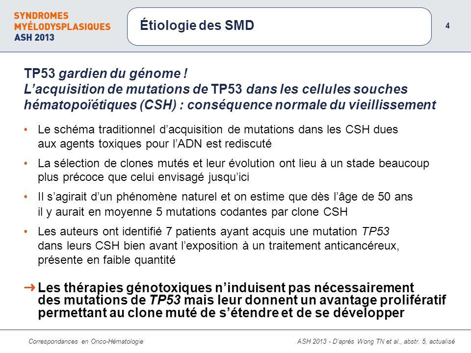 Correspondances en Onco-Hématologie Le schéma traditionnel dacquisition de mutations dans les CSH dues aux agents toxiques pour lADN est rediscuté La sélection de clones mutés et leur évolution ont lieu à un stade beaucoup plus précoce que celui envisagé jusquici Il sagirait dun phénomène naturel et on estime que dès lâge de 50 ans il y aurait en moyenne 5 mutations codantes par clone CSH Les auteurs ont identifié 7 patients ayant acquis une mutation TP53 dans leurs CSH bien avant lexposition à un traitement anticancéreux, présente en faible quantité TP53 gardien du génome .